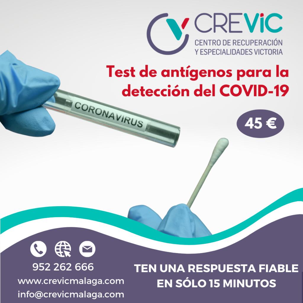 Test de antígenos Málaga. Crevic Málaga Centro de Recuperación